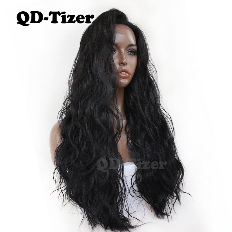 QD Tizer Lace Front Wig Natural Wavy With Baby Hair Heat Resistant Synthetic Lace Front Wig