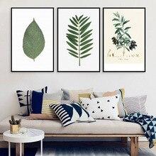 Nordic Minimalisme Natuurlijke Plant Leaf Canvas Schilderijen Muur Pictures voor Woonkamer Decor Aquarel Prints op Canvas Geen Frame