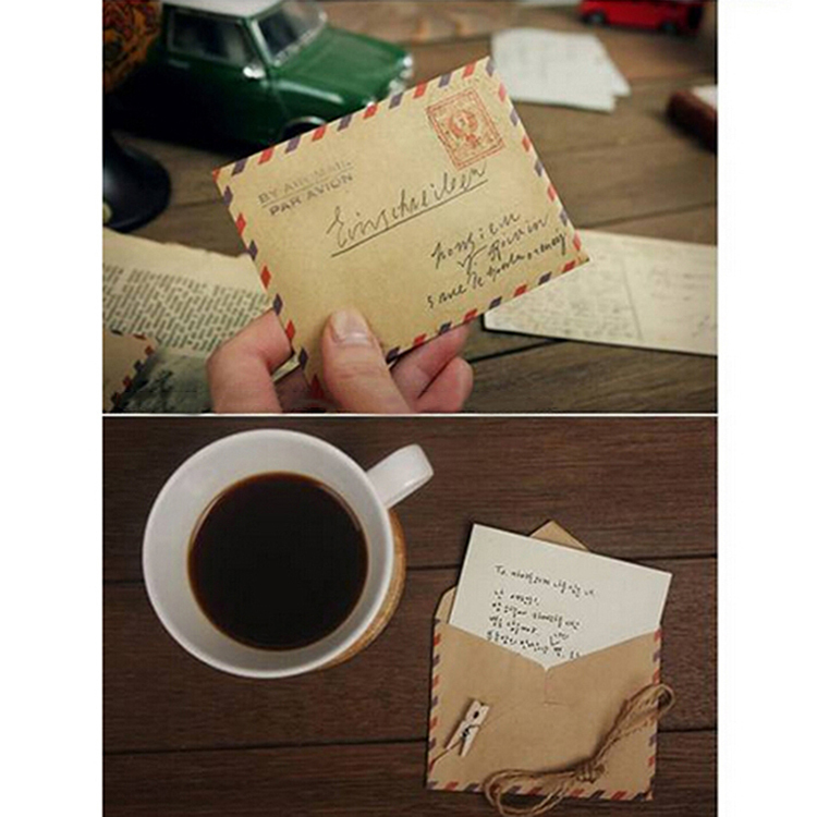 10 PCS Retro Postcard Letter Mini Gifts Envelope Stationary Storage Brown Kraft Paper Vintage Envelopes School Supplies in Paper Envelopes from Office School Supplies