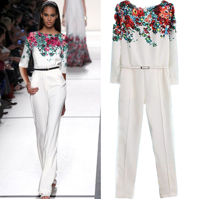 Nanafast 2016 New Arrivals White Floral Full Length Pant High Waist Long-Sleeved Women Jumpsuits Fashion Slim OL Playsuit  S-L
