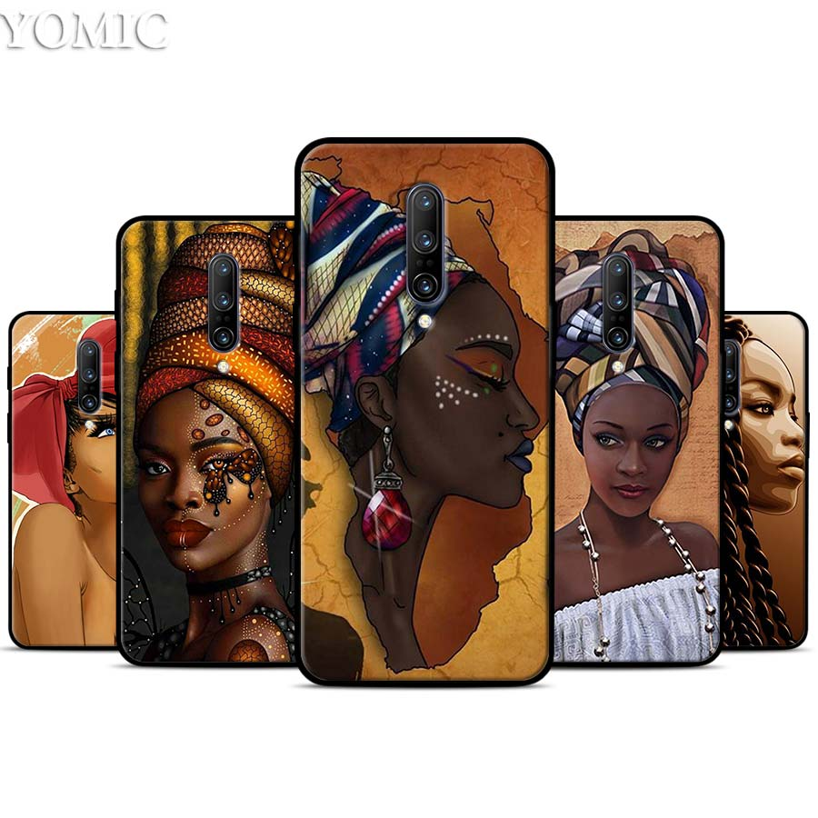 Colorful art african girl Printing Silicone Case for font b Oneplus b font font b 7