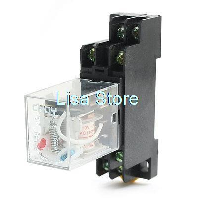 110VAC 5A Coil DPDT 8Pin Red Lamp Power Relay with 35mm DIN Rail Socket Base
