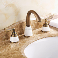 Free shipping Hotel Luxury Ceramic Bathtub Faucet Antique Gold Rose Gold Basin Mixer Tap Copper Faucet Deck Mounted GI136