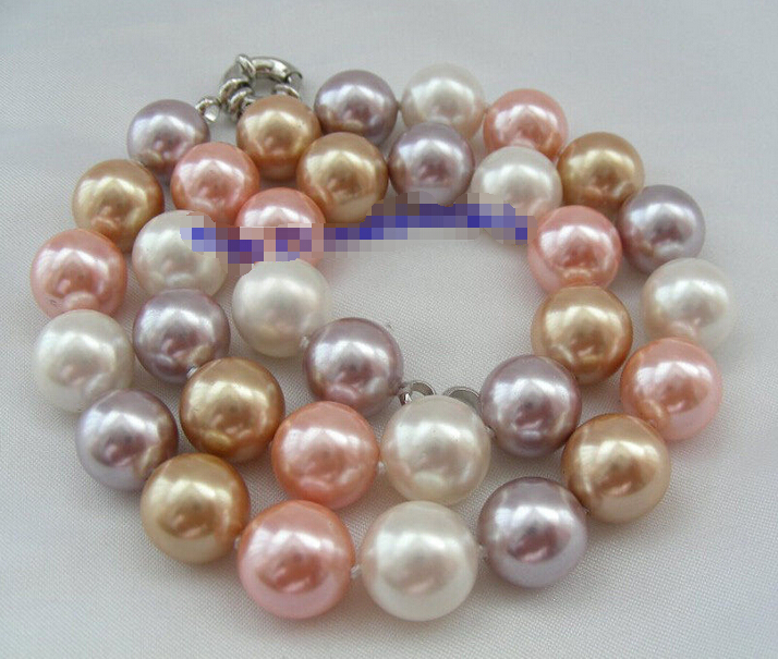Free shipping >>>>>>stunning 12mm round multicolor south sea shell pearl necklace d335