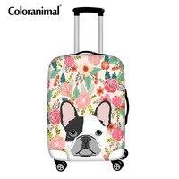 Coloranimal 3D Französisch Bulldog Floral Print Reise Auf Straße Gepäck Deckt Schutzhülle Verdicken Koffer Abdeckungen Zipper für 18-30 zoll
