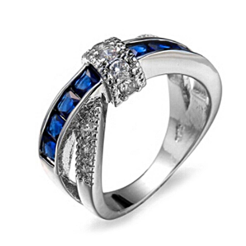 New Women Luxury Cross Finger Ring Paved Zircon Rings Women Wedding Engagement Ring Lady Purple Jewelry Hot Princess