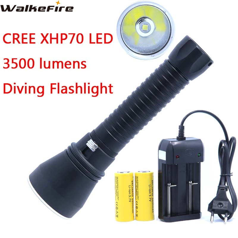 XHP70 Flashlight Torch LED 3500LM Diving 100M Aluminum Cup Powerful Stepless Dimming light & 2*26650 Battery & Charger xhp70 diving flashlight white yellow waterproof powerful led torch 3000k 6000k use 26650 battery