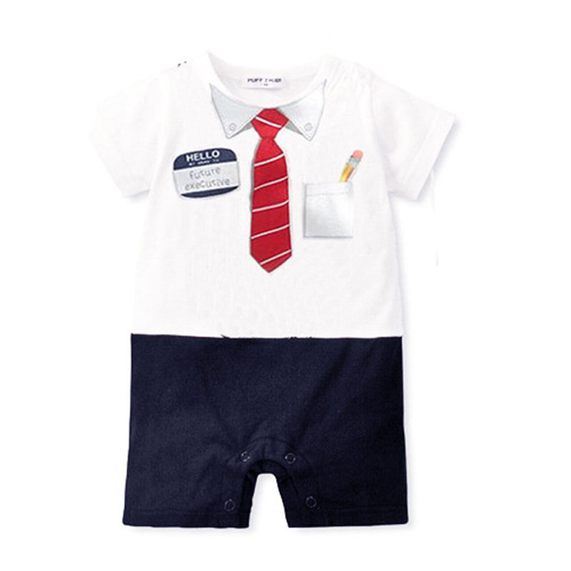 2015 Summer Cotton Newborn baby Boys Rompers Baby Romper Turn-down Collar Short Sleeve Clothes Free Shipping