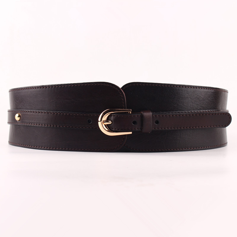 Image 2 - 100% Cowskin Wide Belt For Women High Quality Ceinture Femme Elastic Waistband Female Vintage Genuine Leather Belt Buckles-in Women's Belts from Apparel Accessories