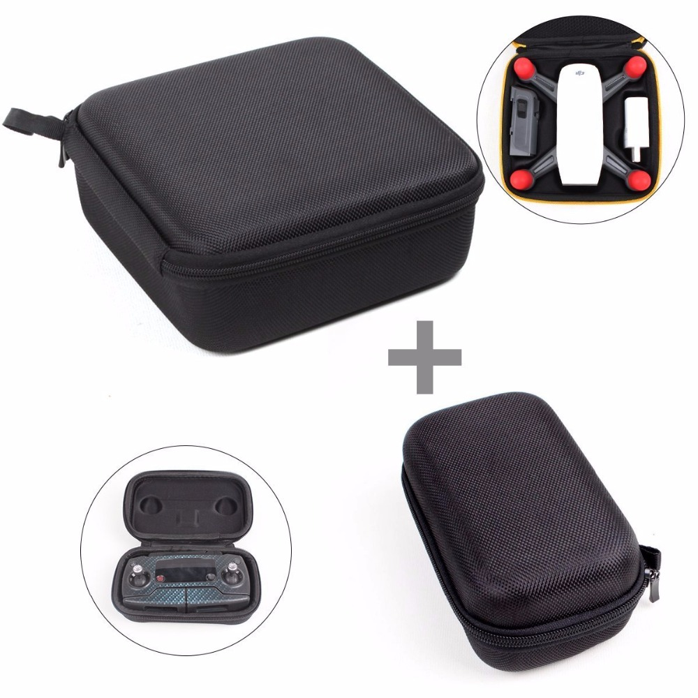 2 In 1 DJI Spark Case Mini Quadcopter Cases Body Battery Storage Box Zipper Caryying Case Withe Remote Controller Bag