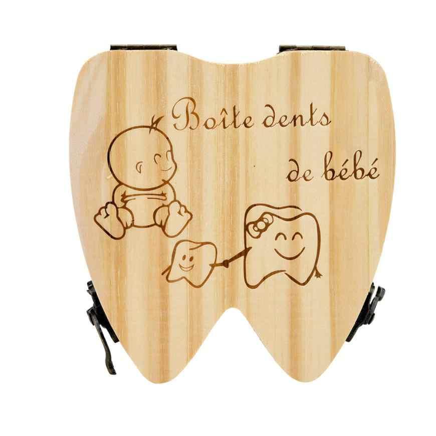 2018 Francese Bambini Tooth Box Organizzatore Bambino Risparmia Latte Denti di Legno Scatola di Immagazzinaggio 3qw0607