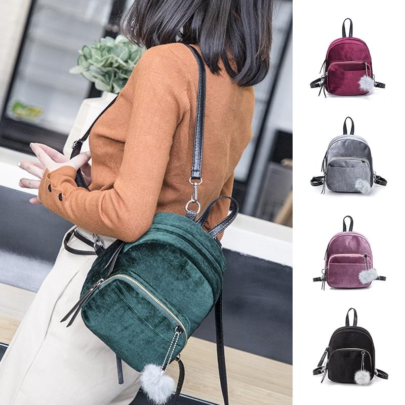 Women Velvet Backpack Satchel School Bag Mini Travel Handbag Shoulder Rucksack
