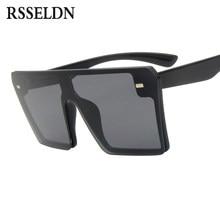 dfaaaeee53 RSSELDN marque de mode noir une pièce lunettes de soleil hommes  surdimensionné plat Top lunettes de soleil pour femmes carré dég.
