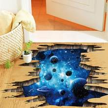 Outer Space Planets 3D Wall Stickers Cosmic Galaxy Wall Decals for Kids Room Baby Bedroom Ceiling Floor Decoration(China)