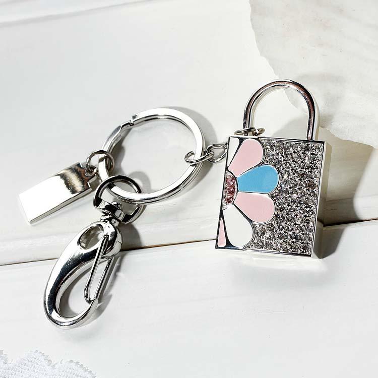 Fashion Jewelry Crystal Lock USB Flash Drive 512GB Memory Stick 128GB 32GB 64GB Girl Gift Pendrive Pen Drive Key Chain 2.0