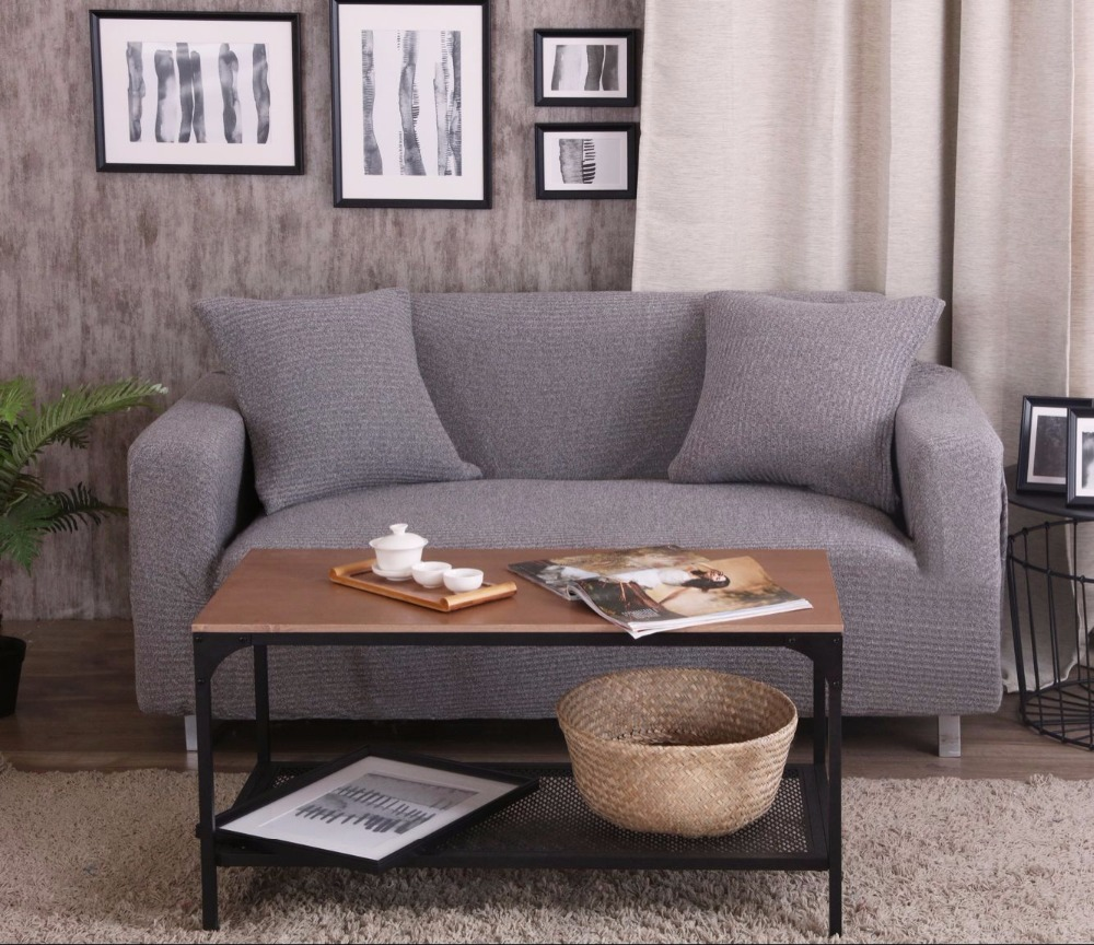 Awesome Grey Solid Color Stretch Sofa Cover For Living Room,100% Polyester Knitted  Corner Sofa Slipcover Cheap Stretch Urniture Covers