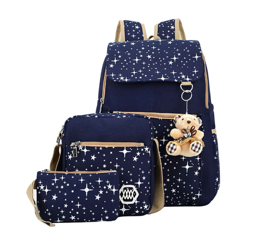 3Pcs/Set Backpacks Korean Women Backpack Canvas Printing Preppy Style School Bags for Teenage Girls Backpack mochila Escolar canvas backpack women for teenage boys school backpack male