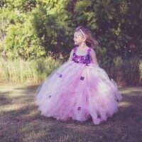 Różowy Księżniczka Dziecko Sukienka Światła Purpurowy Kwiat Dziewczyna Tutu Sukienka Ślub Birthday Party Girls Suknia Maluch Sukienka PT322