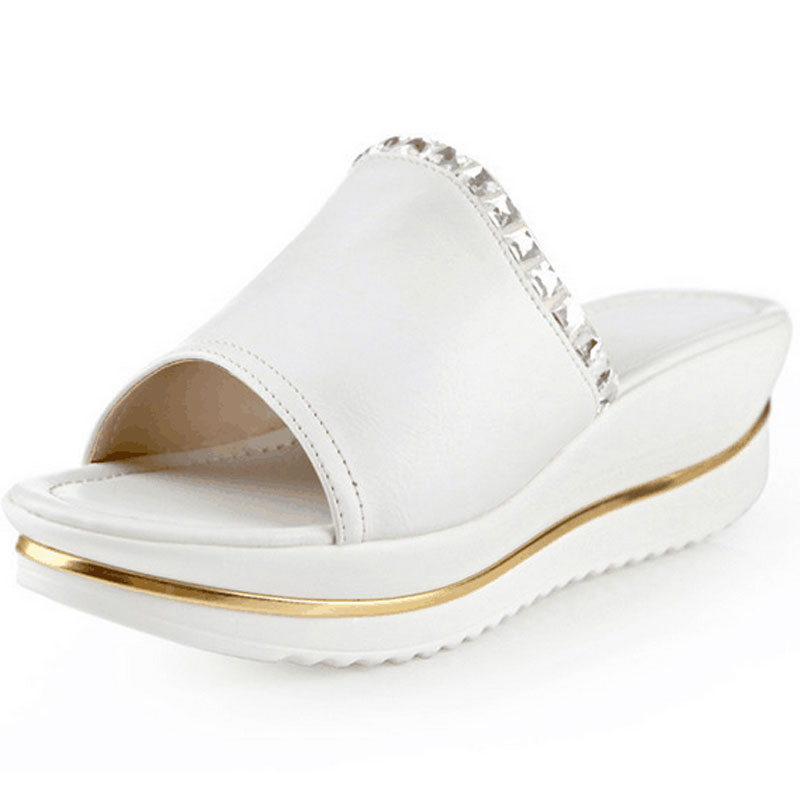 Summer Female Fish Head Diamond Slope With Thick Crust Muffin Sandals And Comfortable Slippers Toe Slip-On Healthy Wedge Shoes han edition diamond thick bottom female sandals 2017 new summer peep toe fashion sandals prevent slippery outside wear female