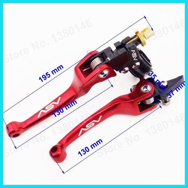 """Красный 7/"""" рукоятка мягкая дроссельная заслонка+ ASV складной тормозной рычаг сцепления для мотокросса Dirt Pit Bike CRF50 KLX мотоцикл"""