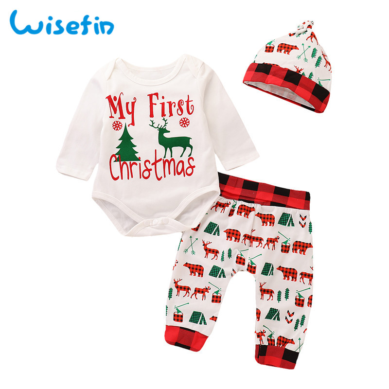 Wisefin Baby Boy Christmas Clothing Set With Hat First Newborn Boy Outfits For Winter Autumn Plaid Animal Infant Clothes 3 Piece 18 piece newborn baby set boy clothes 100