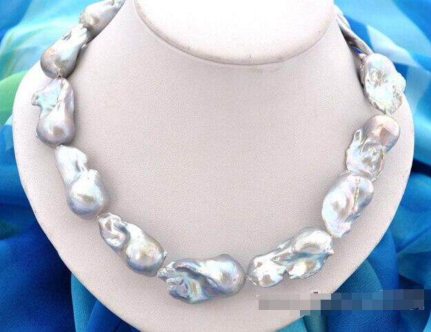 "fast17""37mm baroque gray reborn keshi pearl necklace AAA"