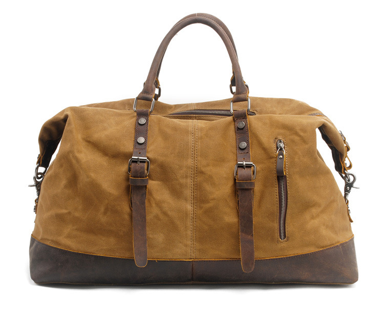 2017 Rushed Men Solid Khaki Travel Vintage Wax Waterproof Canvas Cow Leather Luggage Duffel Tote Large Weekend Bag Overnight motorcycle tank bag helmet travel tool tail luggage waterproof multi riding tribe