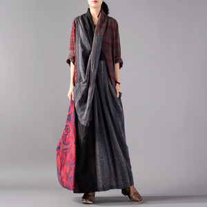 Image 1 - Johnature Vintage Plaid Patchwork Long Loose Dresses Full Sleeve V Neck Pockets New 2020 Spring Cotton Linen Women Dresses