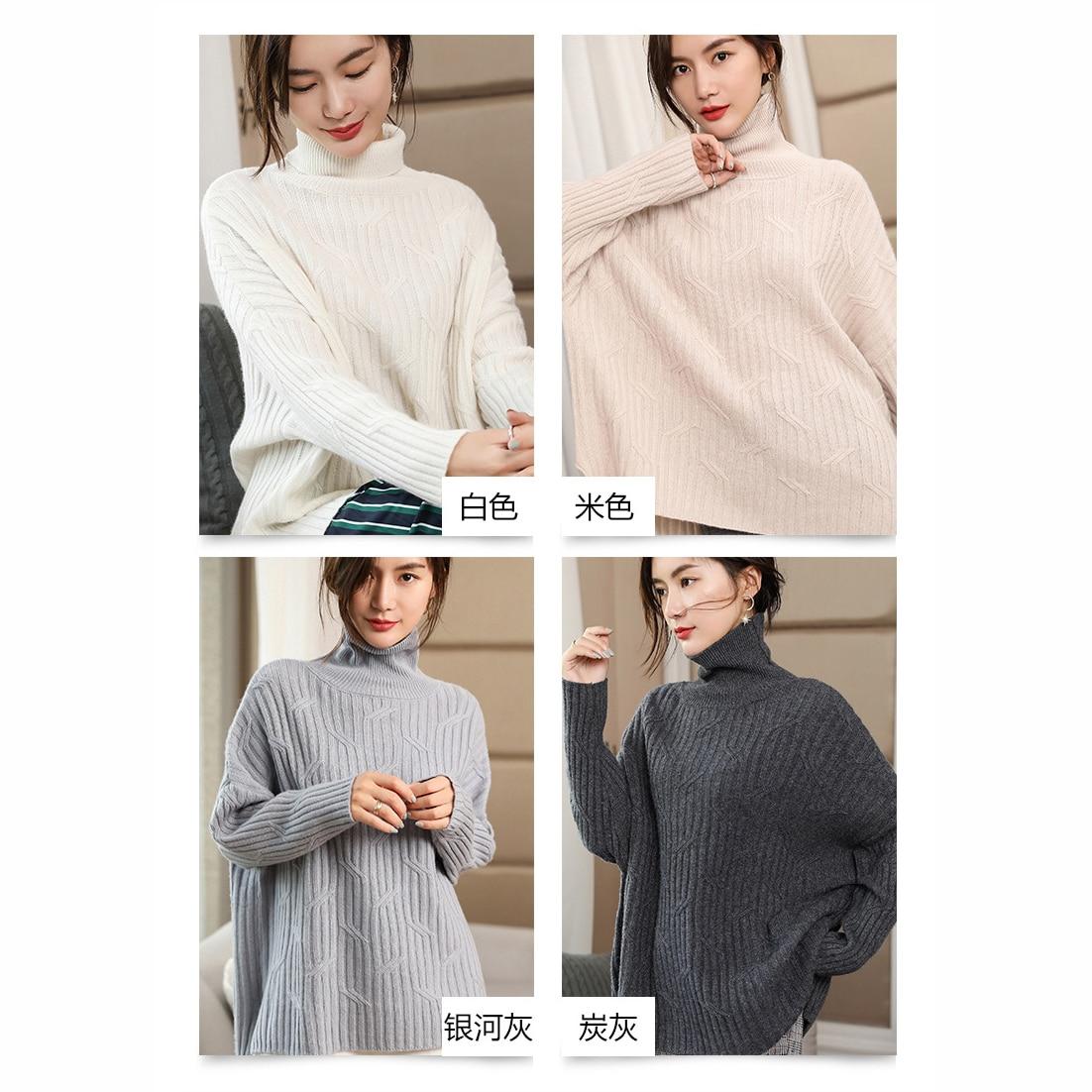 Douce Long Style Modèle Beige Pur blanc gris 2018 Grey Épaississement Dames Pull Tricoté Chaleur En Anti carbon Cachemire Nouveau Couleur peluche pwBvqfzP