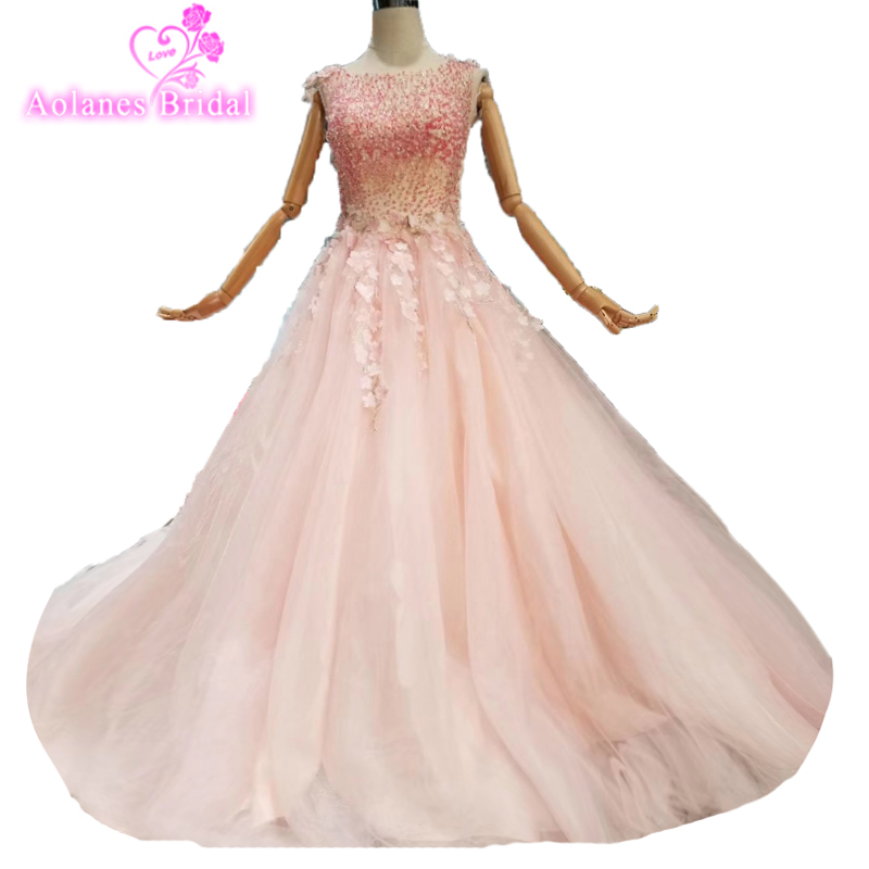 Simple Pink Lace Applique Ball Gown Wedding Dress 2019 Vestido De Noiva Long Robe De Mariage Custom Made 3d Flowers Bridal Gown