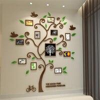 11Pcs Photo Frame Crystal Acrylic Happy Tree 3D Stereoscopic Mirror Wall Stickers Living Room Sofa TV