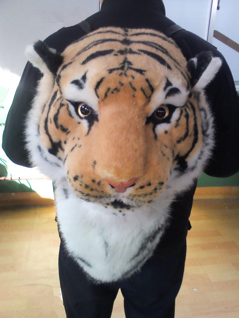 цена the simulation tiger head backpack stuffed steller's backpack tiger backpack gift онлайн в 2017 году