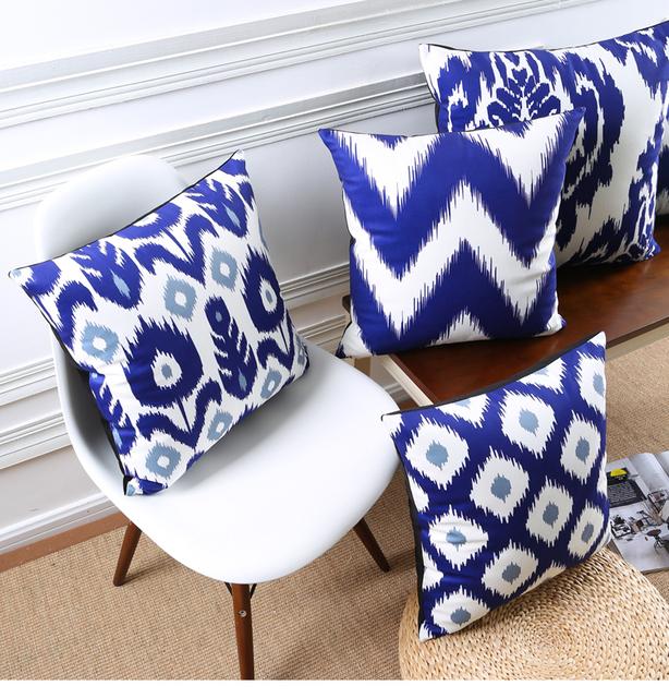 Blue Patterns Decorative Cushion Covers – Velvet