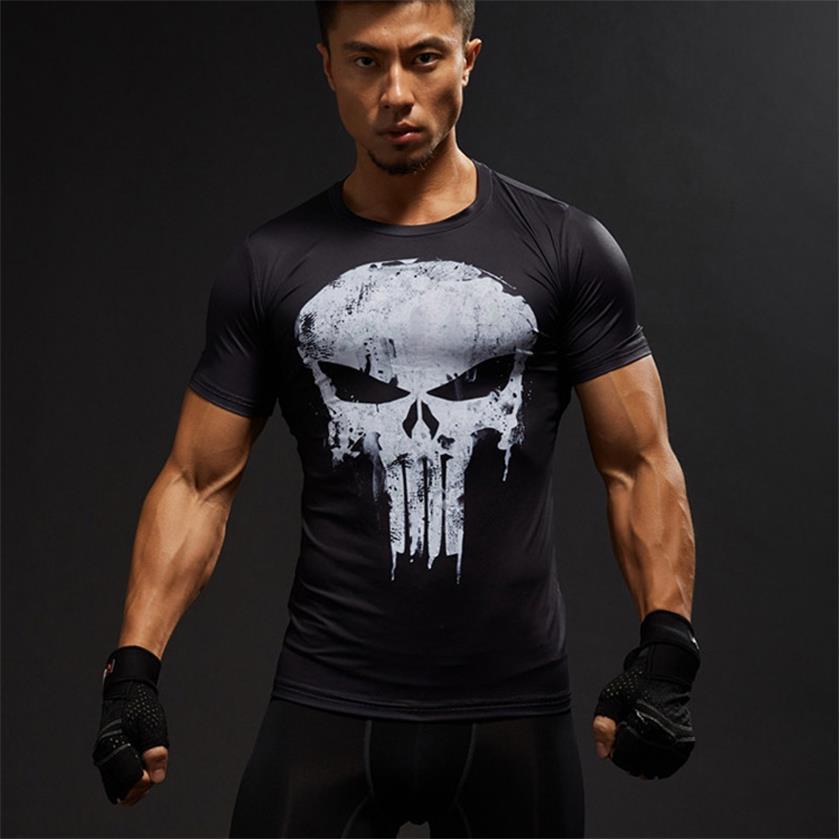 Punisher Gym Sport Short Sleeve T Shirt Men T-Shirt Male Crossfit Tee Captain America Superman tshirt Fitness Compression Shirt