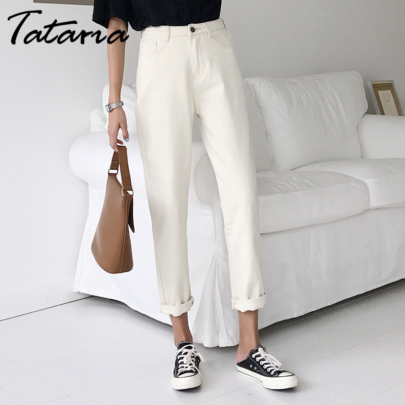 Tataria For Women Loose Vintage Harem Beige Pants High Waist Cotton Jean Female