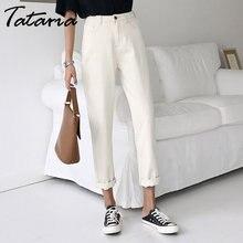 e0ab1ec51c Tataria Jeans harén para las mujeres Vintage Harem Beige pantalones  vaqueros Jeans Mujer Pantalones de cintura alta de algodón .