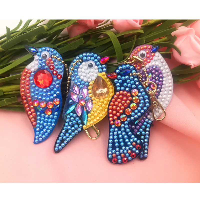 4 Pcs DIY Diamond Painting Keychain Rhinestone Embroidery 5D Craft Kits Mosaic Cross Stitch Key Ring Bag Pendant Decor Accessory