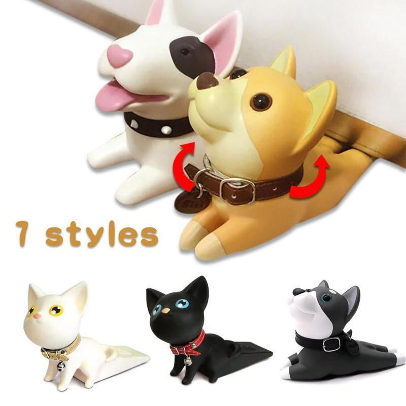Baby safety Doorstop Cartoon puppy cat model door stopper PVC finger protector Home decor Door holder Kids safety guard Gift D3