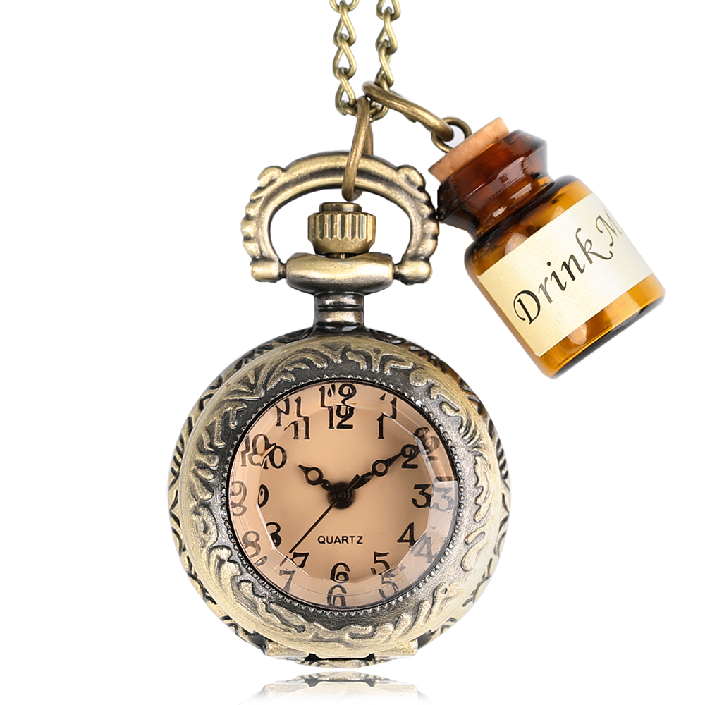 2020 HOT Vintage Bronze Pendant Pocket Watch Alice In Wonderland Drink Me Tag Necklace Chain Top Fashion Gifts For Girls Women