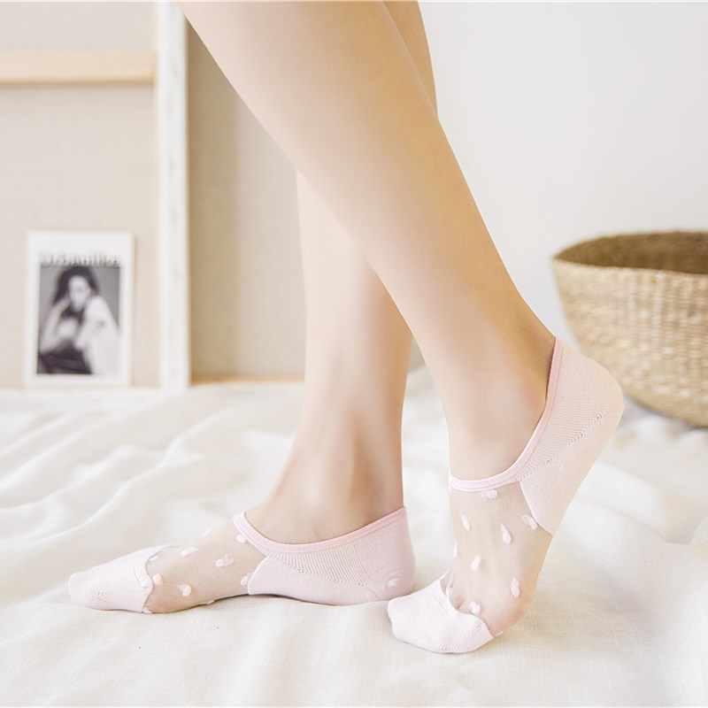 4e23249f51 Cute No Show Socks Transparent 5 pairs Low Cut Blind Women Summer Invisible  Ankle Intimate Glass