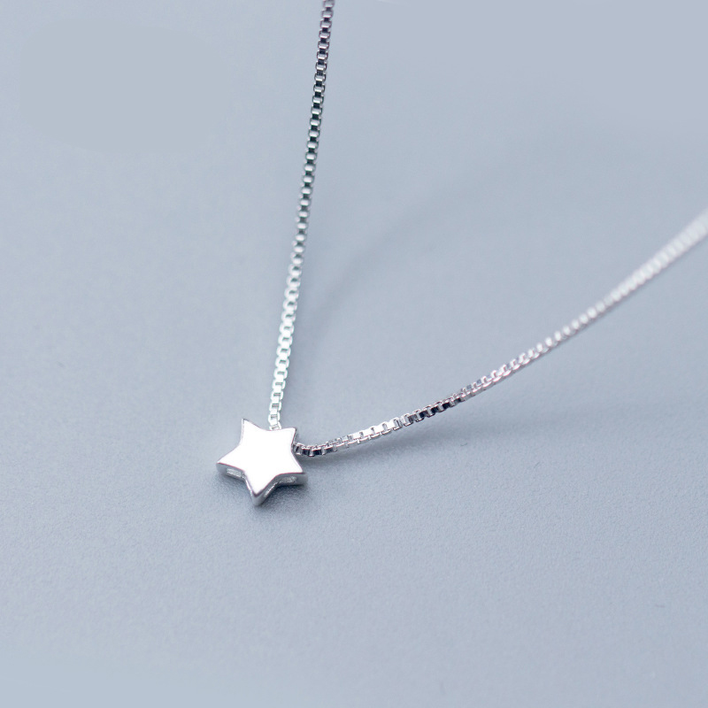 925 Sterling Silver Jewelry Star Charm Pendant Necklace Fashion Boho Jewelry Choker Necklaces for Women Valentine Gift Bijoux