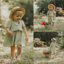 Baby Girl Short Sleeve Green Princess Dress Kid Baby Party Dresses Clothes