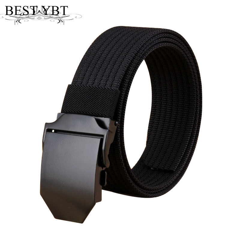 Best YBT Unisex belt trend weaving Nylon Men Alloy Automatic buckle belt Military training sport casual Men and Women belt