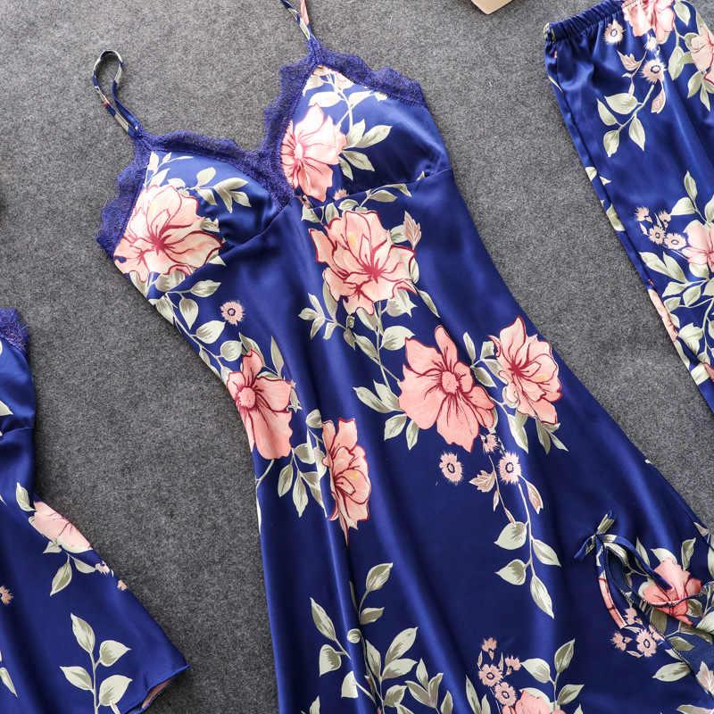 נשים פיג 'מה 5 חתיכות סאטן הלבשת פיג' מה משי בית ללבוש בית בגדי רקמת שינה טרקלין Pyjama עם רפידות חזה