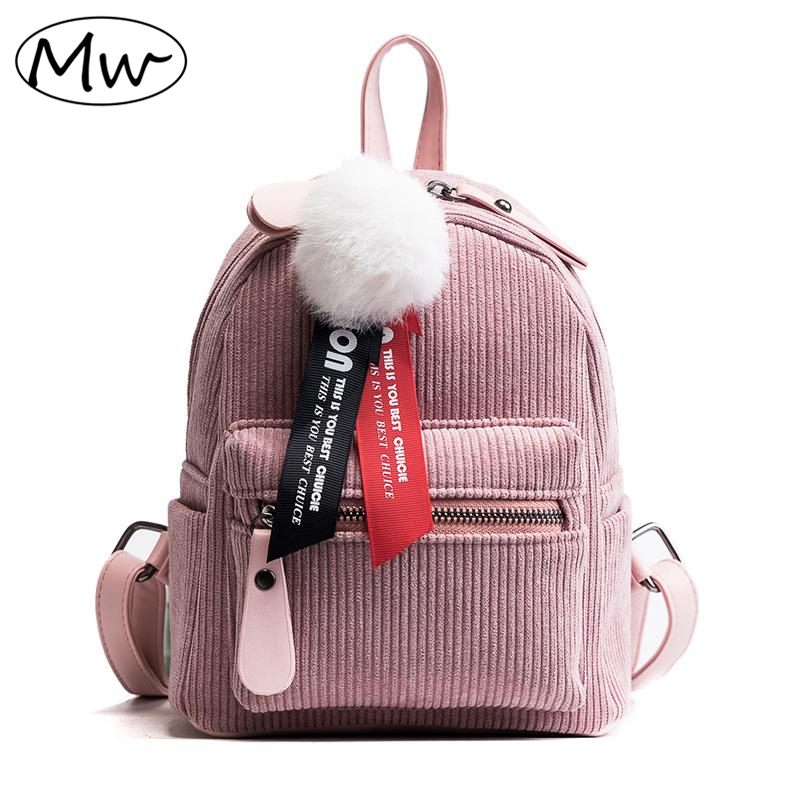 Moon Wood Solid Letters Ribbons Hairball Corduroy Backpack Women Mini Backpack Small School Bag For Girls Children Shoulder Bag moon flac wood