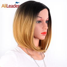 AliLeader African American Bob Wigs Short Shoulder Length Ombre Blonde Green 8 Colors Straight Synthetic For Black Women