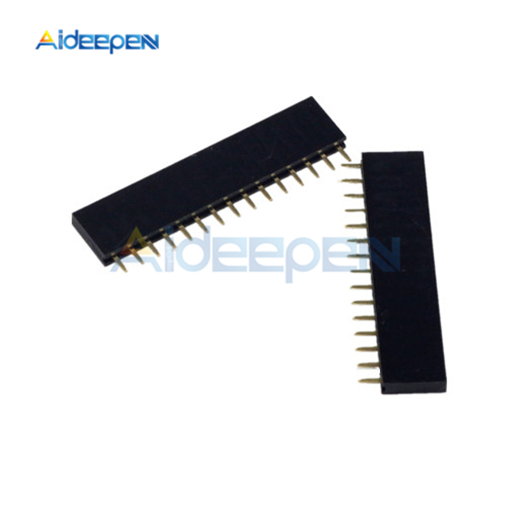 20Pcs 15 Pin Single Row Straight Female Pin Header 2.54mm Pitch Strip Connector Socket 1X15 15Pin For Arduino PCB
