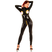 Sexy Latex Glued Catsuit Open Bust Back Zipped Fetish Bodysuit For Girl