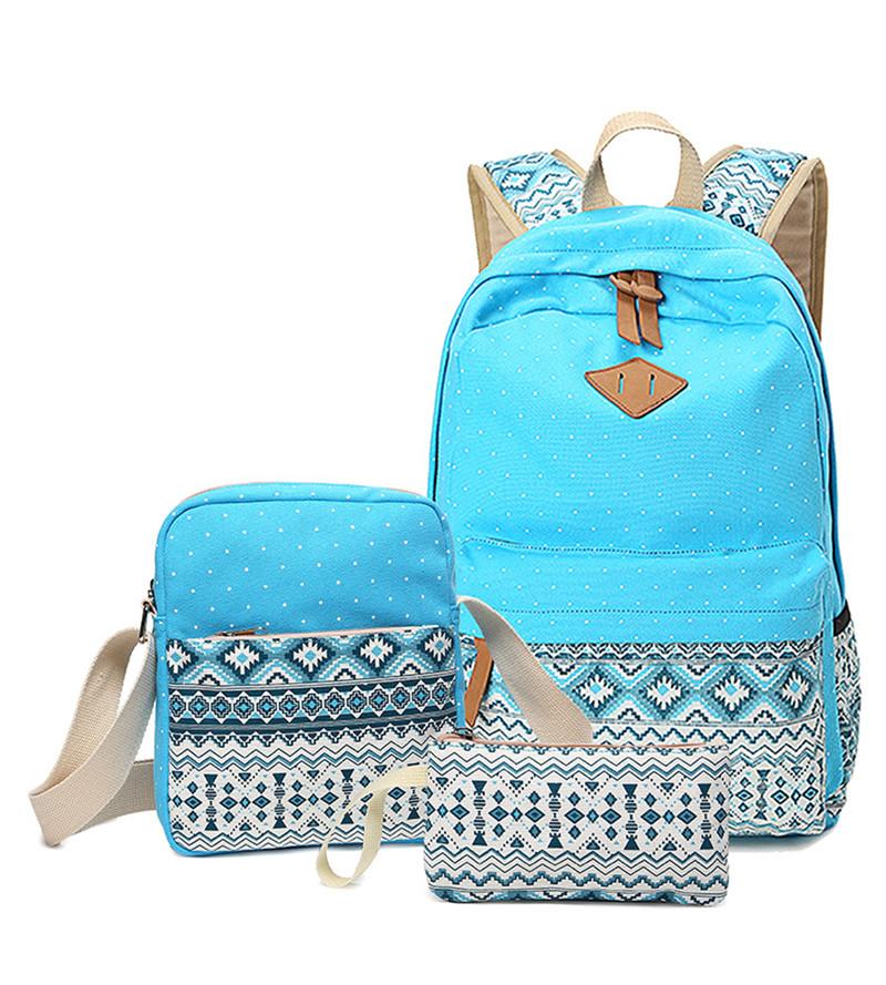 Prix pour 3 pcs Hot set Femmes Impression Sac À Dos pour L'école Adolescents Filles Toile sacs d'école Cru Dames sac d'ordinateur portable Backpaks mochilas