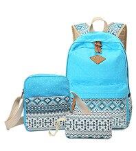 3 unids Caliente de Las Mujeres de Impresión Mochila para Adolescentes Escolares Niñas Lienzo mochilas bolsas escuela Backpaks Damas bolsa de ordenador portátil de La Vendimia